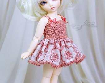 Dark salmon pink dress for TINY bjd LittleFee