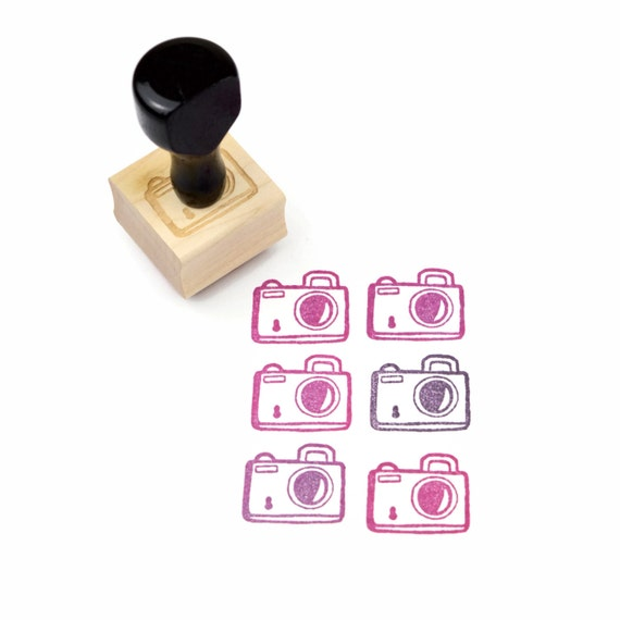 Rubber Stamp Little Camera - Hand Drawn Design - Wood Mounted Stamp