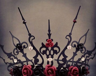 Rose Ultima -  Black and Red Crown Rose Crown Black Tiara Gothic Tiara Evil Queen Crown Evil Queen Tiara Once Upon a Time Gothique
