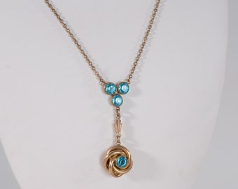 Vintage 1940s Blue Wedding Necklace - Simmons Teal Pendant - Bridal Fashions