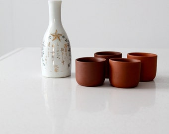 vintage sake set, Japanese sake bottle and terra cotta glasses