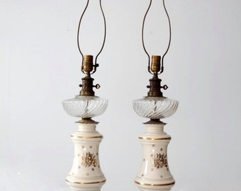 antique ceramic table lamps pair
