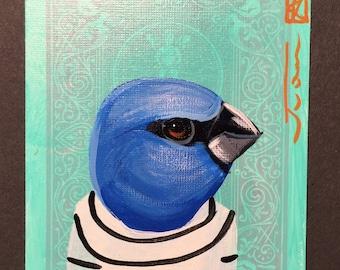 Blue Grosbeak portrait on a playing cards. Original acrylic painting. 2013