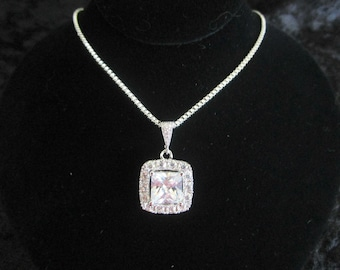 Princess Cut Cubic Zirconia Necklace Bridal Necklace, Cushion Cut Square Necklace,Emerald Cut Necklace,Mother of the Bride Gift, MOG Gift