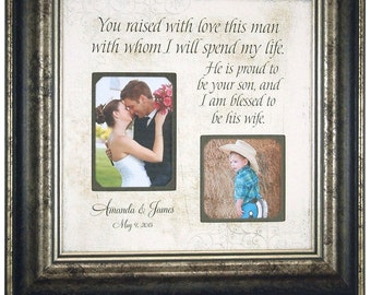 In Laws InLaws Gift, Parents of the Groom Gift, Mother Father of the Groom, You Raised With Love This Man, Personalized Wedding, 16 X 16