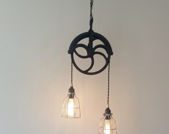 Industrial Pulley Pendant Light, Unique Modern Industrial Lighting
