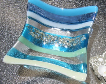 Fused Glass Bowl, Ocean Beach Glass Dish, Sand, Sea and Sky, Turquoise, Blue, Vanilla, Twisted Cane, Sea Glass Plate, Ocean Wave Glass Plate