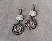 Handmade OOAK Frida Kahlo Statement Earrings Pink White Rose Rhinestone Sparkly Statement Jewelry Pop Icon Culture Mexican