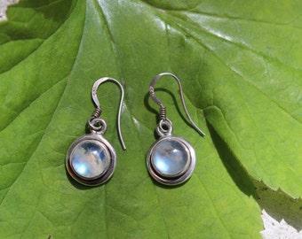 Moonstone Earings Vintage Sterling Silver