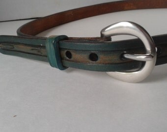 Blue leather belt , custom belts , tooled belts , ladies blue belts , tooled leather , Handmade belts , blue