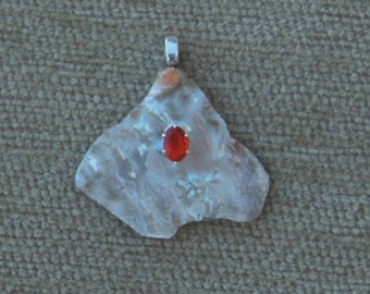 Abalone and genuine fire opal pendant with sterling silver chain