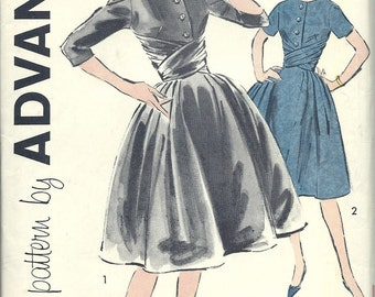 1950s Vintage Advance Printed Dress Pattern Sew Easy