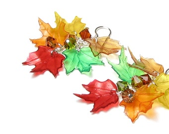 Fall Leaf Earrings, Colorful Autumn Maple Leaves Sterling Silver Swarovski Crystal Earrings Lightweight Acrylic Red Orange Green Amber Brown