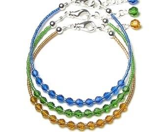 Capri Blue Fern Green Topaz Bracelets, Swarovski Crystal, Adjustable Silver Bracelet Set, New Gift Boxed Jewelry, Simple, Dainty, Modern Gem