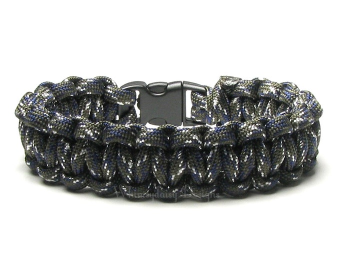 Paracord Bracelet Garrison Survival Accessory Charcoal Gray Blue White Man's Military Army Duty Hiker Rope Outdoorsman Camping Gear Hunter