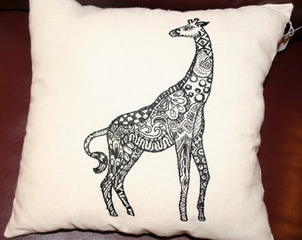 Linen Giraffe Decorator Pillow