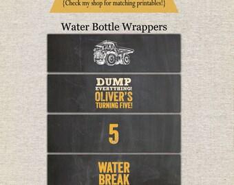 Construction Water Bottle Drink Labels | Construction Water Bottle Drink Wrappers | Dump Truck Water Bottle Labels | Construction Printables