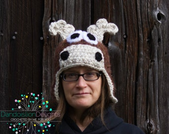 Moose Hat, CUSTOM ORDER, Teen & Adult Size, Ski Hat, Winter Hat, Woodland Creature, Forest Animal, Halloween Costume, Family Photo Prop