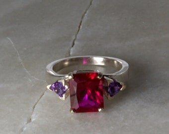 Alexandrite Accented Ruby and Sterling Ring.