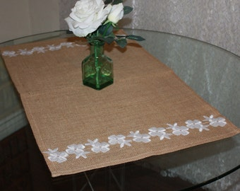 """Home decor-Table runner-Wide table runner-Cottage-Rustic table Runner Natural Burlap 19X32"""" Decorated 1 inch Embroidered lace flowers"""