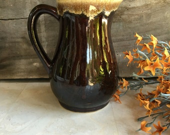 Small Vintage Roseville Pottery Pitcher RRP Brown Drip Glaze - #F2046