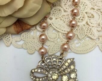 Vintage Rhinestone Necklace pearl necklace vintage assemblage necklace repurposed necklace brooch necklace