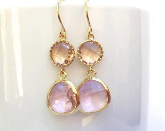 Gold Champagne and Lavender Earrings. Blush Earrings. Light Purple. Lilac. Bridesmaid Earrings. Bridal Earrings. Wedding Jewelry. Delicate