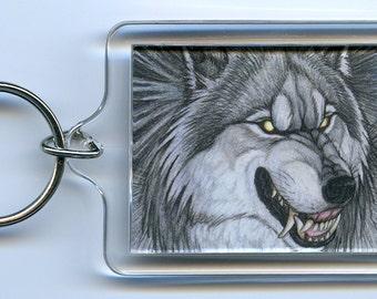 Silver Gray Werewolf Keychain