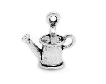 Charms : 5 Antique Silver Garden Watering Can Charms | Gardening Pendants -- Lead, Nickel & Cadmium Free 02231.B35