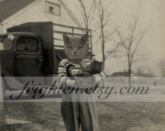 8x10 Inch Cat Art Print, Gray Anthropomorphic Cat Photography Farm Boy Holding Cat Mixed Media Collage