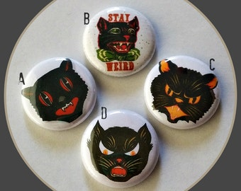"Black Cats! - Halloween 1"" Button Choose Your Own"