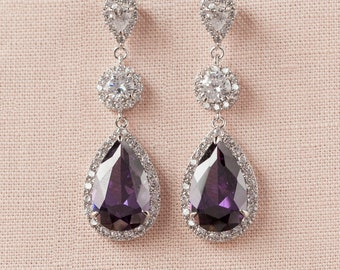 Bridal Earrings, Amythyst Purple Wedding earrings, Sapphire Bridal earrings, Bridesmaid, Swarovski, Wedding Jewelry,  Crystal Stud Earrings