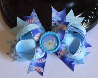 "Elsa Hair Bow 5"" Blue and White Frozen Elsa Print Bow Ribbon Spikes with Elsa Bottle Cap on Alligator Clip Disney Birthday Gift Favors"