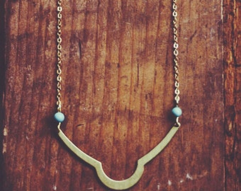 bohemian tribal brass + turquoise necklace