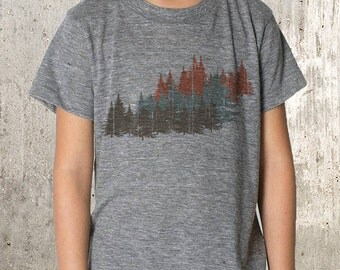 Kid's T-Shirt - Forest Layers Illustration - American Apparel Kid's TriBlend T-Shirt