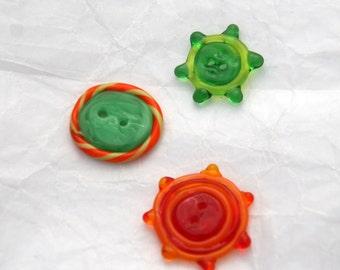 Decorative Glass Button Trio