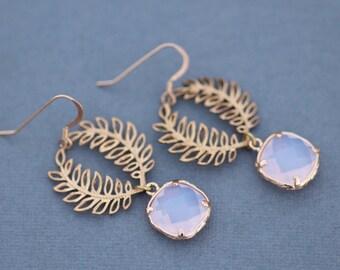 Vintage Golden Leaf Pink Opal Miriam Haskell Filigree Earrings,Vintage Style Drop Earring,Gold Filled,Gold Brass Leaf Drop,Glass Faux Opal