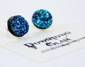 Blue Green Druzy Stud Earrings