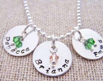 Sterling silver mothers pendants, 3 Hand stamped pendant, keepsake, name pendant,affirmation pendant