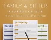 Family & Babysitter Reference Kit –Editable, Emergency Contact, Medical Info, Babysitting, Home Management Binder / Household PDF Printables