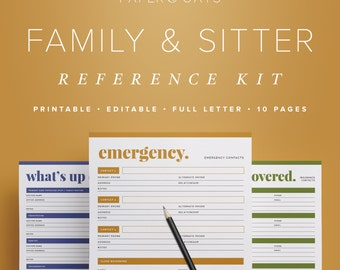 Family & Babysitter Reference Kit –Editable, Emergency Contact, Medical Info, Babysitting, Home Management Binder / Household PDF Printables