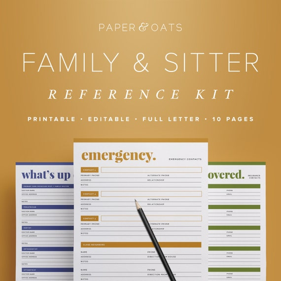 Family & Babysitter Reference Kit Editable Emergency