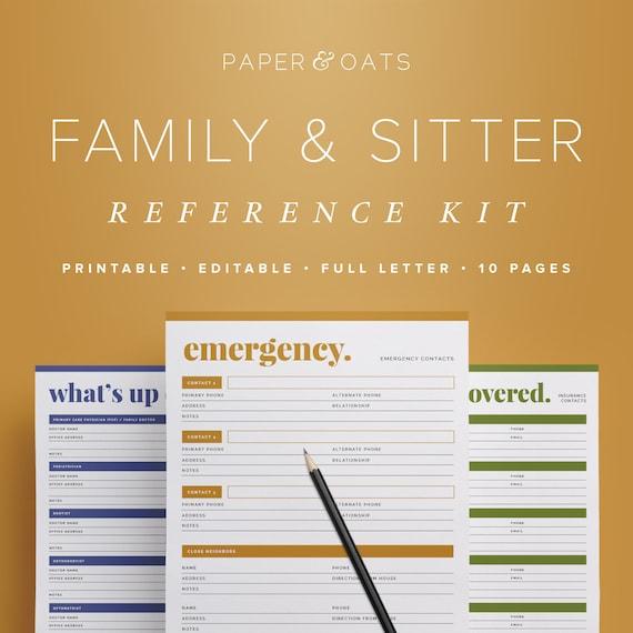 Family & Babysitter Reference Kit Editable Emergency