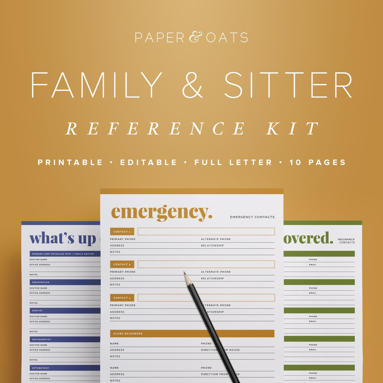family babysitter reference kit editable emergency 🔎zoom