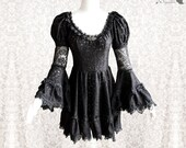 Dress romantic goth, black lace, Victorian, steampunk, Devia, Somnia Romantica, size small, see item details for measurements