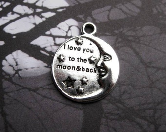 4 Love You to the Moon and Back Charms in Silver Tone - C2348