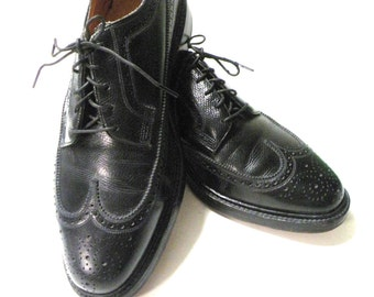 Black Florsheim Kenmoor Wingtip Oxford Black Pebble Grain V CLEAT
