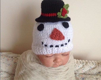 Newborn photo prop, snowman newborn hat , Christmas newborn/ baby hat, newborn boy, newborn girl, newborn knit hat, newborn prop, baby hat