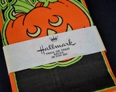 Vintage Hallmark Paper Halloween Treat Bags Orange Black Jack O Lantern NOS Unopened 25 Count Party Favor Decoration