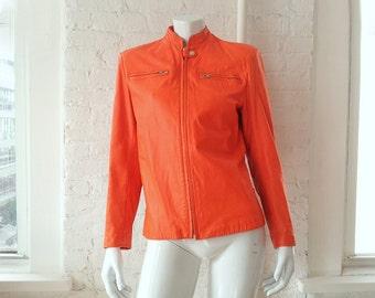 Orange Motorcycle Jacket Vintage Stephen Sprouse Leather Biker Cafe Collar Medium New Wave Punk Rock 80s Minimalist Mod Neon Moto Jacket